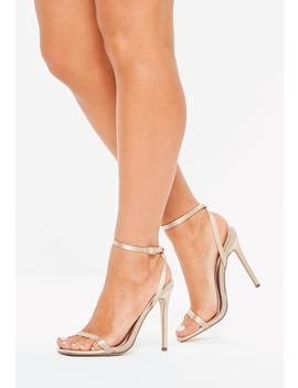 Mauve Satin Skinny Barely There Heels by Missguided