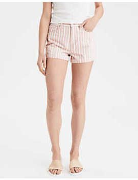 Striped Denim Mom Shorts by American Eagle Outfitters