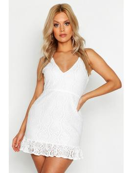 Plus Lace Plunge Ruffle Hem Mini Dress by Boohoo