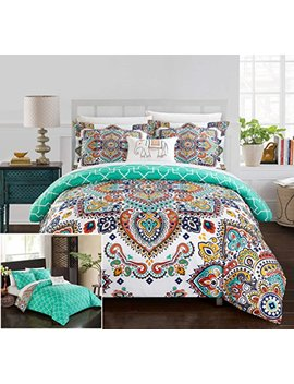 Chic Home 8 Piece Raypur Reversible Boho Inspired Print And Contemporary Geometric Patterned Technique King Bed In A Bag Comforter Set Aqua by Chic Home