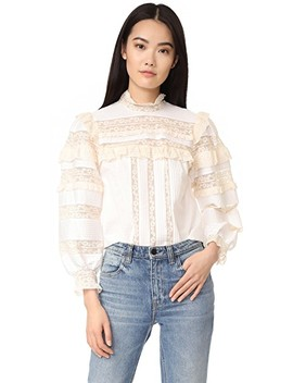 Long Sleeve Poplin Lace Top by Rebecca Taylor