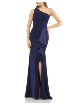 One Shoulder Crepe Gown by Carmen Marc Valvo