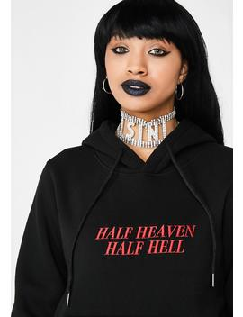 Half Heaven Half Hell Embroidered Hoodie by Hidden Cult