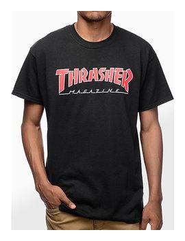 ddc1cae6073 Thrasher Magazine Outlined Camiseta Negra by Thrasher