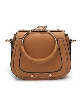 Yoome Elegant Rivets Punk Style Circular Ring Handle Handbags Messenger Crossbody Bags For Girls   Brown.Leather Handle by Yoome
