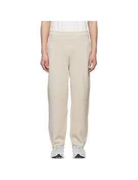Off White Rustic Knit Trousers by Homme PlissÉ Issey Miyake
