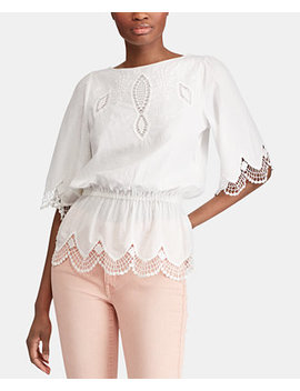 Petite Lace Cotton Top, Created For Macy's by Lauren Ralph Lauren