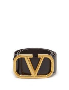 V Buckle Medium Leather Belt by Valentino