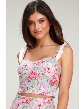 Tamera Light Blue Floral Print Crop Top by Wayf