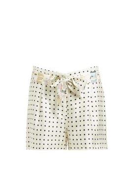 Mumbai Polka Dot Print Silk Twill Shorts by La Prestic Ouiston