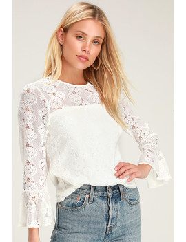 Perfect Petals Cream Lace Three Quarter Sleeve Top by Lulus