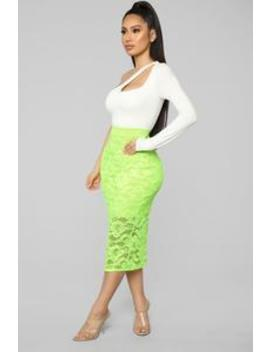 Laid In Lace Skirt   Neon Green by Fashion Nova