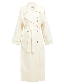 Papery Cotton Blend Long Trench Coat by Raey