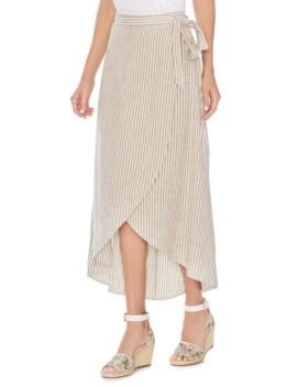 Natural Linen Stripe Wrap Midi Skirt by Vince Camuto