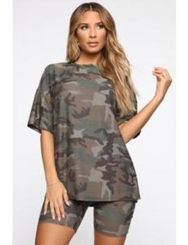 Tamia Camo Short Set   Olive/Combo by Fashion Nova