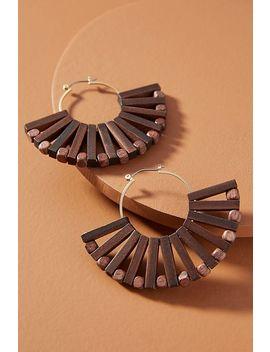 Demetria Wooden Fan Hoop Earrings by Anthropologie
