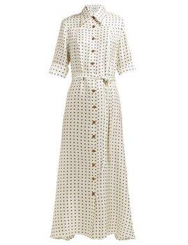 Polka Dot Print Silk Satin Dress by La Prestic Ouiston