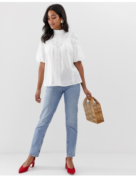 Asos Design High Neck Top With Lace Inserts In Cotton by Asos Design