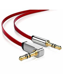 ugreen-35mm-auxiliary-audio-jack-to-jack-cable-90-degree-right-angle-for-apple-iphone,-ipod,-ipad,-samsung,-smartphones,-tablets-and-speakers,24k-gold-plated-male-to-male-(15ft,-red) by ugreen