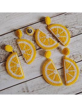Lemon Citrus Bead Earrings . Handmade Fruit Jewelry by Etsy