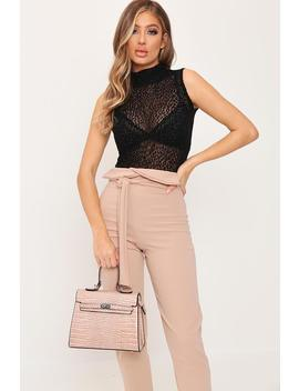 Nude Croc Print Oversized Structured Bag by I Saw It First