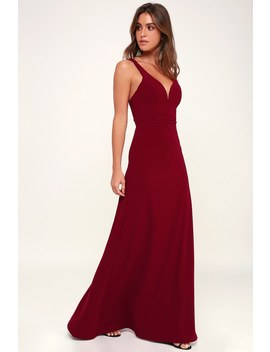 Glamour Than This Burgundy Maxi Dress by Lulus