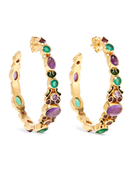 Gold Plated And Enamel Multi Stone Hoop Earrings by Percossi Papi