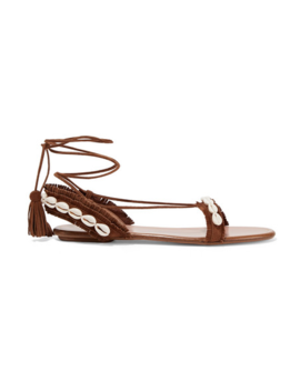 Riviera Shell Embellished Suede Sandals by Aquazzura