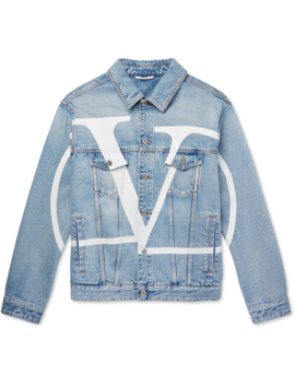 Distressed Logo Print Denim Jacket by Valentino