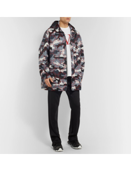 Logo And Camouflage Print Shell Hooded Coat by Valentino