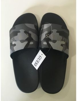 Guess Men's Camo Casual Dark Gray & Black Soldier Camoufl Slide Sandals 9/11 by Guess