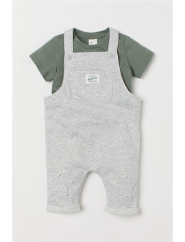 T Shirt And Bib Overalls by H&M