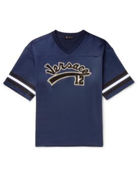 Oversized Logo Appliquéd Striped Tech Jersey T Shirt by Versace