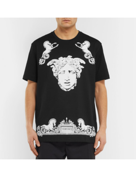 Printed Cotton Jersey T Shirt by Versace