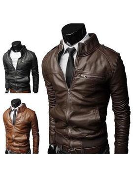 Nuevo Hombre Moda Chaquetas Cuello Delgado Moto Cuero Chaqueta Abrigo Prendas De Abrigo by Ebay Seller