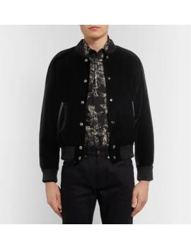 Leather Trimmed Appliquéd Velvet Bomber Jacket by Saint Laurent