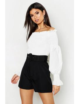 Self Belt Woven High Rise Short by Boohoo