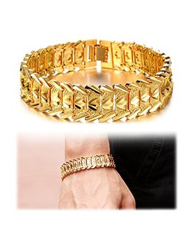 Suyi Men's 18 K Gold Plated Link Bracelet Classic Carving Wrist Chain Link Bangle by Suyi