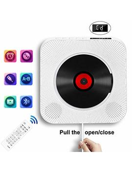 Portable Cd Player With Bluetooth, Wall Mountable Cd Music Player Home Audio Boombox With Remote Control Fm Radio Built In Hi Fi Speakers, Mp3 Headphone Jack Aux Input Output By Inteli Topia, White by Soulcker