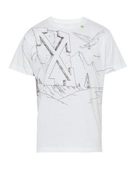 Sketch Print Cotton T Shirt by Off White