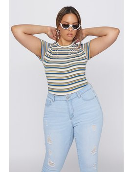 Plus Size Striped Ribbed Short Sleeve Bodysuit by Urban Planet