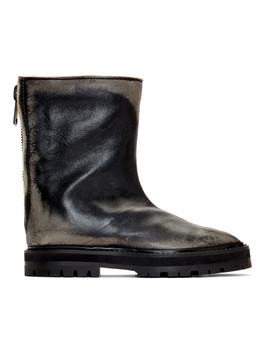 Black Leather Tabi Hunter Boots by Maison Margiela