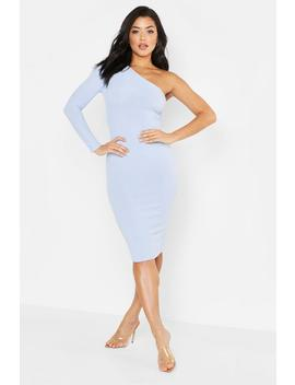 Tonal Ribbed One Shoulder Midi Dress by Boohoo