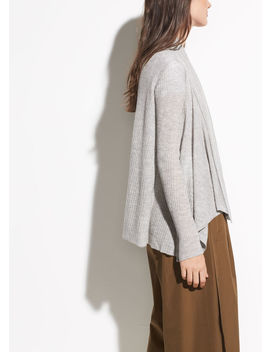 Ribbed Drape Front Cardigan by Vince