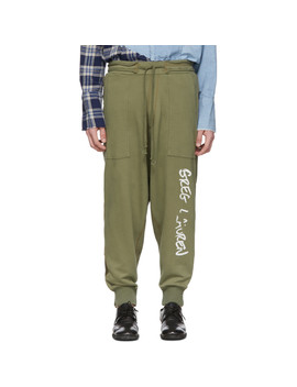 Green Army Drop Lounge Pants by Greg Lauren