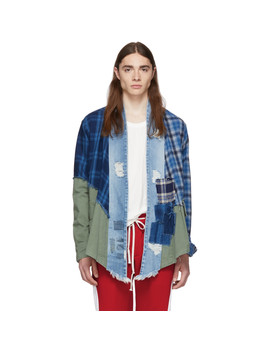Blue & Navy 50/50 Mixed Plaid Army Kimono by Greg Lauren