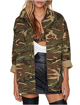 Asmax Hao Duo Yi Womens Casual Camo Lightweight Zipper Outwear Jacket by Asmax