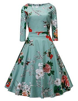 Women's Dress 3/4 Sleeve Calf Length Retro Floral Vintage Dress Audrey Hepburn Style by Best Wendding