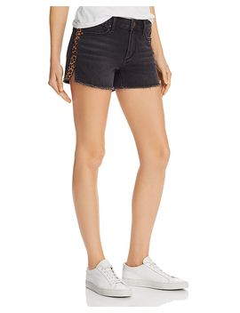 Leopard Track Stripe Denim Shorts In Black   100% Exclusive by Aqua