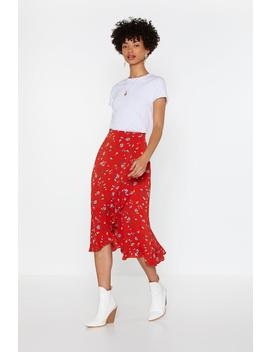 Floral Ruffle Wrap Midi Skirt by Nasty Gal
